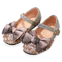 glitter shoes for girls Australia - Bekamille Girls Leather Shoes Autumn Fashion Flash Glitter Bow Kids Shoes for Girls Princess Flat Soft Bottom Sneakers