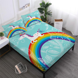 Colorful Printed Bedding NZ - Blue Cartoon Unicorn Bedding Set Colorful Rainbow Bed Sheet Flowers Print Fitted Sheet Polyester Fabric Bed Linens Pillowcase