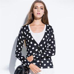 Womens long sleeve cardigan sWeater online shopping - Women Cardigans Coat Spring Autumn Womens Cardigan Long Sleeve Casual V Neck Sweater Cotton Knit Women Polka Dot Cardigan