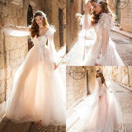 $enCountryForm.capitalKeyWord Australia - 2020 Elegant Beach Wedding Dresses V Neck A Line Lace Appliqued Beads Feather Vestidos De Novia Summer Long Sleeve Boho Wedding Gowns