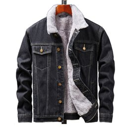 fur lined denim jacket UK - MORUANCLE Men's Winter Warm Jean Jackets And Coats Fleece Lined Thick Thermal Denim Jacket Outerwear Plus Size M-5XL Fur Collar