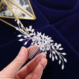$enCountryForm.capitalKeyWord Australia - Elegant Full Cubic Zircon Wedding Hair Combs Leaf Bridal Crystal Sticks Wedding Hair Accessories Evening Hair Jewelry T190628