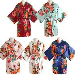 Wholesale wedding kimonos for sale - Group buy Charming V Neck Kimono Bathrobe Rayon Sleepwear Mini Bride Bridesmaid Wedding Robe Print Floral Nightwear Nightdress One Size