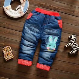 Baby Cotton Winter Tights Pants Australia - good quality baby girls thick pants winter newborn baby cartoon casual denim warm trousers for bebe girls toddler cotton pants