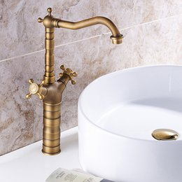Kitchen Faucet Antiques Australia - 1 Pc Antique Brass Faucet Hot And Cold Water Kitchen Basin Sink WC Bathroom Faucet Brass Hot and Cold Mixer Tap