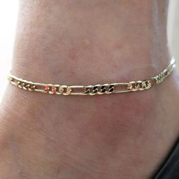 $enCountryForm.capitalKeyWord Australia - Anklets Foot Jewelry Gold silver Plated Gift Women Girl Foot chain Sexy Simple Gold Anklet Ankle Bracelet Womens Figaro Link Foot Jewellry