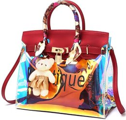 Discount usa tie - shoulder bag tote arrive cheetah laser wholesale 2019 original handbag purse female Environmental protect PVC beach outd
