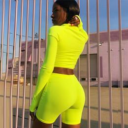 $enCountryForm.capitalKeyWord Australia - Neon Fashion Green Pink Tracksuit Women Two Piece Set Top And Pants Sweat Suits Biker Shorts Joggers Sets C87-ab82