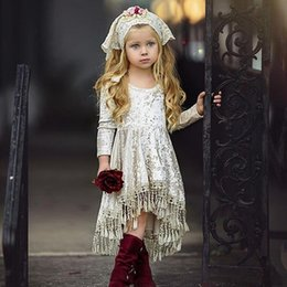 kids princess velvet clothes UK - Vieeoease Girls Dress Christmas Flower Kids Clothing 2018 Autumn Fashion Long Sleeve Tassels Princess Party Dress EE-1096