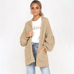bd3c8ba10e European Style Autumn Winter Fashion Yellow Cardigan Sweater Knitted Puff Sleeve  Cardigan Loose Coat O-Neck Sexy Thick Sweater