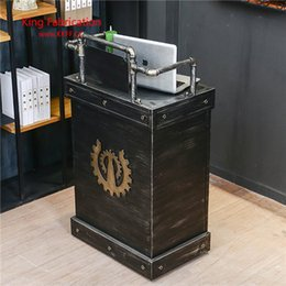 modern bar counter Australia - Retro iron cashier bar barber shop industrial simple front desk storage counter