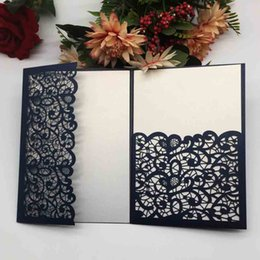 chinese engagement cards UK - Hollow Laser Cut Sample Wedding Invitations Cards Silver Color Marriage Engagements Children's Day Festival Mother's Day Supplies