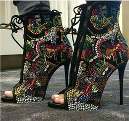 Wholesale Women Crystal ankle boots Covered Comic Multicolor Diamonds High Heels Peep Toe Stilettos Gladiator Cut Outs Heels Rhinestone Boots