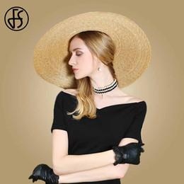 Sun Hats For Ladies Australia - FS 2019 Boater Straw Sun Hats For Women Big Brim Fashion Summer Beach Cap Elegant Ladies Bow Yellow Large Hat Fedora Visors Caps