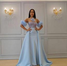Apple Sleeves Australia - Evening dress Yousef aljasmi Labourjoisie Zuhair murad A-LIne Jewel Short Sleeve Light Sky Blue Satin Crystal Feather Long Dress James_paul