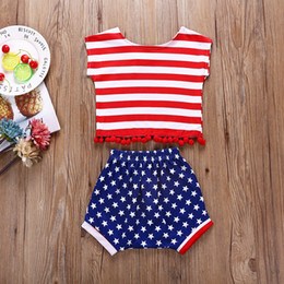 Girls Tassel Shirt Australia - INS Designer Toddler Kids Girls Suits Red Sleeveless Strips Tops Blue Stars Printing Bloomers Independence Day Outfits 0-4T