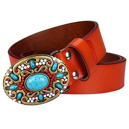 Discount ladies decorative belts Women Genuine leather cowskin gem turquoise pattern arabesque retro woman decorative belt lady Y200501