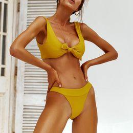 Wholesale brazil bikinis online – 2020 New Sexy Low Waist Bikini Set Swimsuit Bow Swimwear Women Red Brazil Bikinis Solid Bathing Suit Beach Wear Bather Biquini