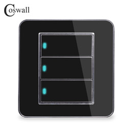 led touch button switch Australia - Coswall Brand New Arrival 3 Gang 1 Way Random Click Push Button Wall Light Switch With LED Indicator Acrylic Crystal Panel