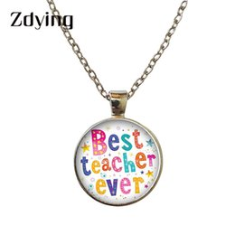 CaboChon Chain online shopping - Zdying New Fashion Best Teacher Ever Necklaces Letter Image Glass Cabochon Pendant Charm Chain Necklace Gift TH027
