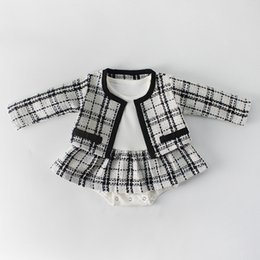 long black cardigan girls NZ - 2019 Baby Romper Sets Long Sleeved Plaid Cardigan+ Jumpsuit Suit 0-2T Girls Plasuit Kids Clothes Y04
