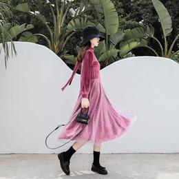 Natural viNes online shopping - pink velvet Vine Mesh Panel Dress Women Ruffle Round Neck Long Sleeve Elegant Dresses Party Bodycon Dress XL