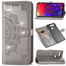 Wholesale luxury designer phone cases for huawei p20 pro p30 mate20 Y9 Diamonds Embossed mandala Leather wallet cell phone case cover back Card Pocket