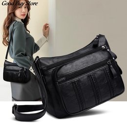 genuine leather crossbody handbags wholesale Canada - Genuine Leather Crossbody Bags For Women Elegant Handbag Fashion Black Office Messenger Bag Tote Purses Retro Bolsa
