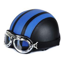 $enCountryForm.capitalKeyWord Australia - Hot Motorcycle Helmet With Shield Goggles Neck Scarf Street Bike PU Leather Half Helmets for Men Women JLD