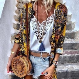 $enCountryForm.capitalKeyWord Australia - Women Jackets Spring Summer Casual Holiday Thin Cardigans Ladies Floral Printing Jecket For Ladys Print Jackets For Femme