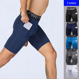 Men Compression Shorts Australia - VERTVIE 2019 New Men Sports Gym Compression Phone Pocket Wear Under Base Layer Short Pants Athletic Solid Tights Shorts Pants