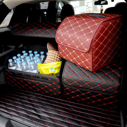 Wholesale Car trunk Heavy PU leather Stowing Tidying Interior Holders Storage Basket Organizer Boot Stuff Drink Food Automobile Storage Bags