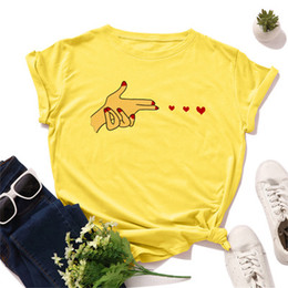 Wholesale basic t shirt lady online – design Harajuku Love Finger Print Women T Shirt Summer Cotton Short Sleeve Basic Tee Shirt Heart Graphic Loose Top Lady Plus Size S XL