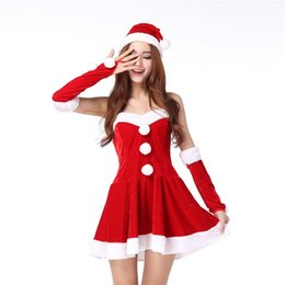 red white costumes NZ - Christmas Costume Princess clothes Slimming dress Christmas hat Hand ring decoration Red and white Suit One size
