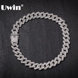 Uwin 20mm Prong Cuban Link Chains Necklace Fashion Hiphop Jewelry 3 Row Rhinestones Iced Out Necklaces For Men MX190730 on Sale