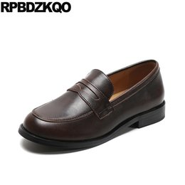 3ba08e1138f women wide fit shoes ladies chinese japanese school black round toe  designer slip on brown flats loafers british style shallow