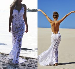 $enCountryForm.capitalKeyWord Australia - Cool Sexy 2019 Sea Beach Full Lace Sheath Wedding Dresses halter Wedding gowns white appliques open back Mermaid See Through Bridal Gowns