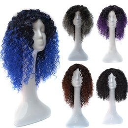 Brown Purple Blue Wig NZ - Ombre hair Synthetic Kinky Curly Wigs Heat Resistant Fiber Afro curly Synthetic machine made no lace front wig 1B brown grey blue Purple