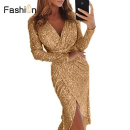 Women 3XL Sexy V-neck High Slit Party Dress Women s Glitter Sequined Bodycon  Dresses Autumn Long Sleeve Midi Tunic Vestidos 42b4a3340cc6
