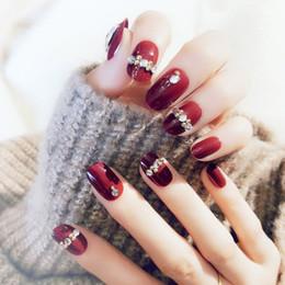 $enCountryForm.capitalKeyWord Australia - 1 Sheet set Acrylic Red Inlaid Diamonds Fashion Fake Nails Sticker Decorated for Fashion Nail Art for Office Home