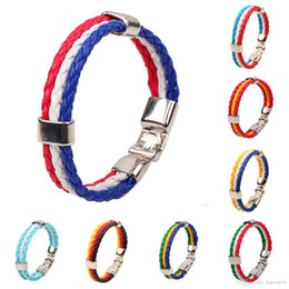 indian mens leather bracelets Australia - Charms Bracelets (8inch Long) 2016 World Cup National Flags Sports 3 Strands Rope Braided Surfer Leather Bracelets Mens Bracelets