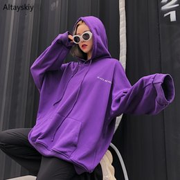 korean hip hop clothing Australia - Hoodies Women Hooded Loose Oversize Hip Hop Solid Simple All-match Korean Style Pockets Leisure Pullovers Womens BF Clothing