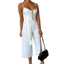 fa2be8addd1f Fashion Jumpsuits Women Summer Rompers Sexy Spaghetti Strap Lace Up Jumpsuit  White Sashes Button Female Overall