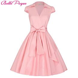 Rockabilly Pin Up UK - Belle Poque Women Summer Dresses 2018 Office Clothing Robe Vintage 50s 60s Pin Up Big Swing Party Work Wear Rockabilly Dress J190511