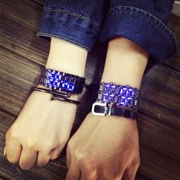 Watch For Men Blue Australia - Hot Sale Cool Silver Full Stainless Steel LED Lava Blue Red Light Digital Wristwatch Watch for Men Women Unisex Couple