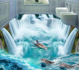 huge home decors 2020 - Free Shipping 3d Custom Wall Sticker Dophins In Huge Waterall Flooring Painting Photo Wallpaper For Walls Home Decor Mur