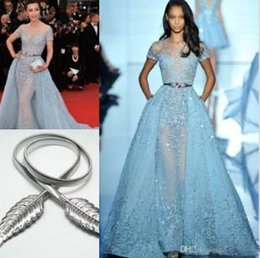 $enCountryForm.capitalKeyWord Australia - Li Bingbing in Zuhair Murad Red Carpet Evening Dresses Overskirts Lace Applique Beads Lace Poet Short Sleeve Formal Prom Celebrity Gowns