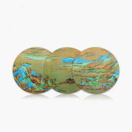 4 Inch Round Cup Mat A Thousand Miles of Rivers and Mountains Dufu Palace Museum Souvenir Cultural Creative Gift WJ461 on Sale