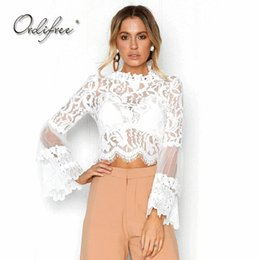 Lovely Womens Tops And Blouses Transparent Blouse Shirt Floral Crochet Lace Semi-sheer Mesh Long Sleeve Streetwear Female Tunics White Women's Clothing