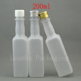 Olive Oil Containers Australia - 200ml x 30 empty frosting white refillable bottle wine   olive oil container with white plastic silver   gold aluminum screw cap